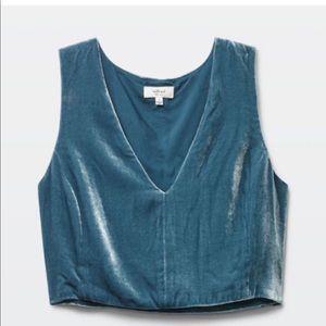 Wilfred Aritzia Dauphine Blue Velvet Cropped Silk V-Neck Tank